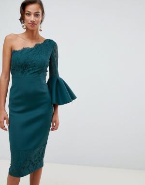 Платье-футляр миди с кружевом ASOS DESIGN. Цвет: синий