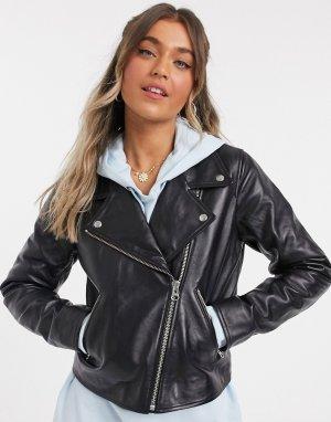 Черная кожаная куртка в байкерском стиле Levis-Черный Levi's
