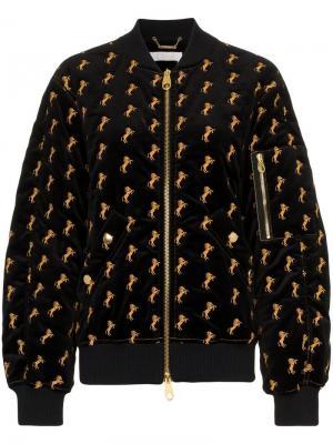 Бархатная куртка-бомбер Chloé. Цвет: черный