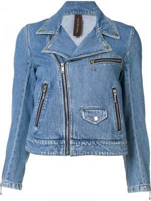 Джинсовая байкерская куртка Maison Mihara Yasuhiro. Цвет: синий