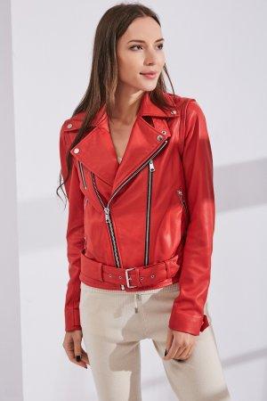 Женская Кожаная куртка 0207 INA VOKICH. Цвет: красный