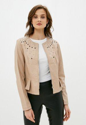 Куртка кожаная Koton. Цвет: бежевый