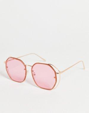 Розовые солнцезащитные очки в блестящей оправе стиле 70-х -Розовый цвет ASOS DESIGN