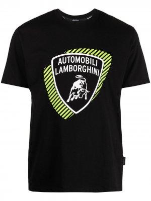 Футболка с логотипом Automobili Lamborghini. Цвет: черный
