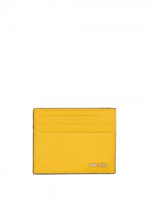 Картхолдер с логотипом Prada. Цвет: желтый