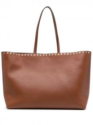 Большая сумка-тоут Rockstud Valentino Garavani. Цвет: коричневый