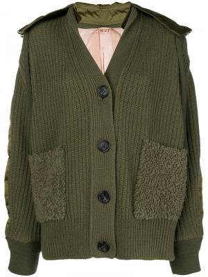Куртка-бомбер крупной вязки Nº21. Цвет: зеленый