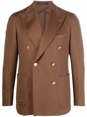 Двубортный пиджак строгого кроя Tagliatore. Цвет: коричневый