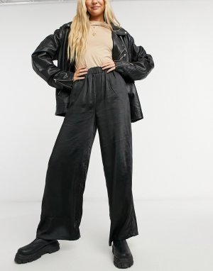 Атласные широкие брюки Bell-Черный цвет Dr Denim