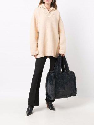 Большая фактурная сумка-тоут P.A.R.O.S.H.. Цвет: серый