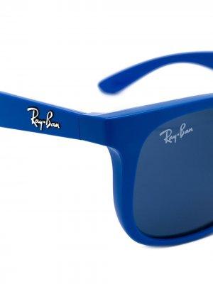 Солнцезащитные очки с квадратной оправой RAY-BAN JUNIOR. Цвет: синий