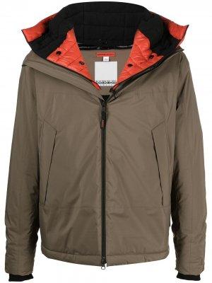 Куртка с капюшоном и съемной вставкой Napapijri. Цвет: коричневый