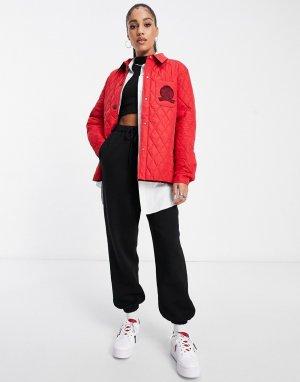 Красная стеганая куртка-рубашка с гербом Collections-Красный Tommy Hilfiger