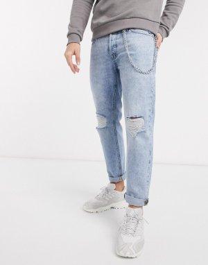 Комфортные мраморные джинсы с рваной отделкой и цепочкой Intelligence-Синий Jack & Jones