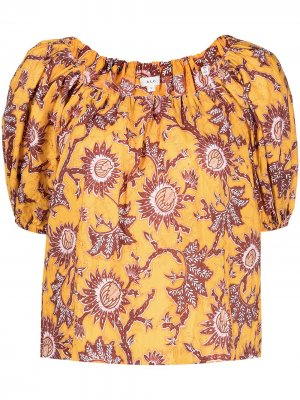 Блузка с открытыми плечами и цветочным принтом A.L.C.. Цвет: желтый
