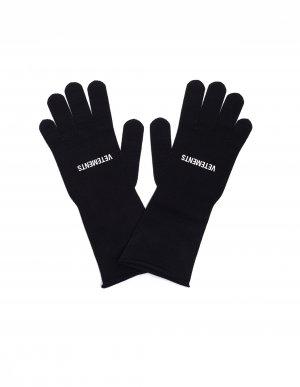 Черные перчатки с логотипом Vetements