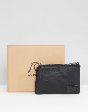 Бумажник из черной кожи на молнии Quicksilver Quiksilver. Цвет: черный