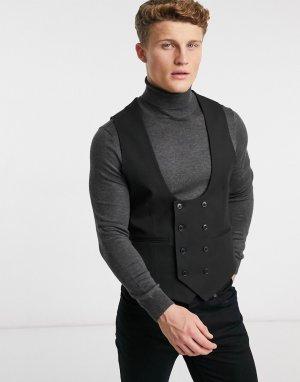 Черный супероблегающий жилет Wedding-Черный цвет ASOS DESIGN