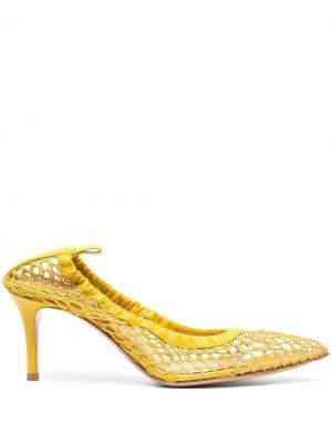 Сетчатые туфли-лодочки Gianvito Rossi. Цвет: желтый
