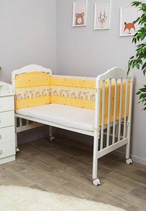 Бортик для детской кровати Сонный Гномик Оленята. Цвет: бежевый