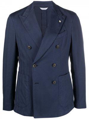 Двубортный пиджак без подкладки Manuel Ritz. Цвет: синий