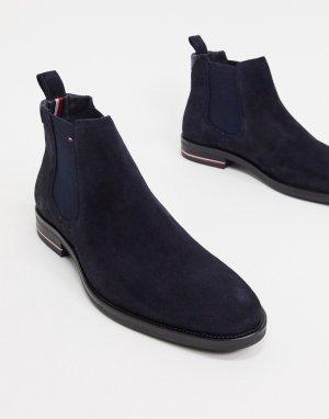 Замшевые ботинки челси темно-синего цвета с логотипом -Темно-синий Tommy Hilfiger