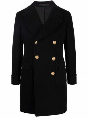 Double-breasted virgin wool coat Tagliatore. Цвет: черный