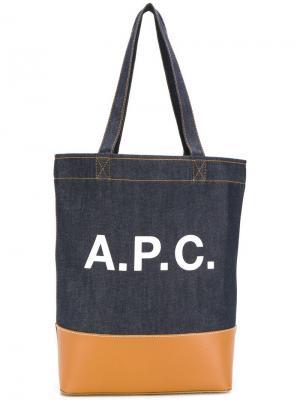 Сумка-тоут из денима с логотипом A.P.C.. Цвет: синий