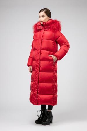 Модный длинный пуховик с мехом ADD. Цвет: красный