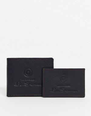 Кожаный бумажник и кредитница -Черный Ben Sherman