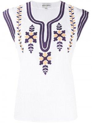 Топ с вышивкой Antik Batik. Цвет: белый