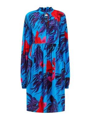 Яркое платье-миди из шифона с флористическим принтом ICE PLAY. Цвет: синий