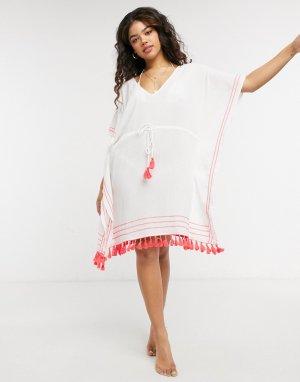 Белое пляжное платье-туника с кисточками Tulum-Белый Figleaves