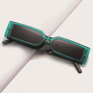 Мужские солнцезащитные очки в квадратной оправе SHEIN. Цвет: зелёный