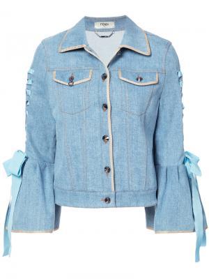 Bell-sleeved denim jacket Fendi. Цвет: синий
