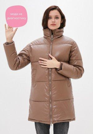 Куртка кожаная Goldrai. Цвет: коричневый