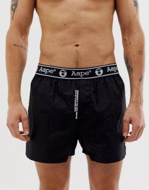 Черные шорты с логотипом AAPE By A Bathing Ape. Цвет: черный