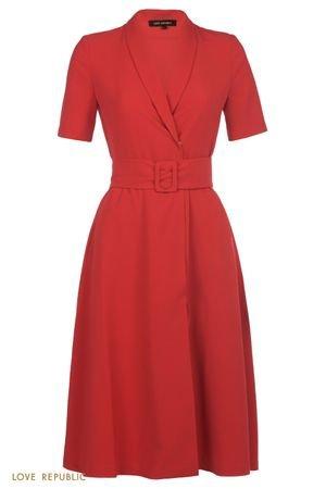 Красное платье миди с запахом и шалевым воротником LOVE REPUBLIC