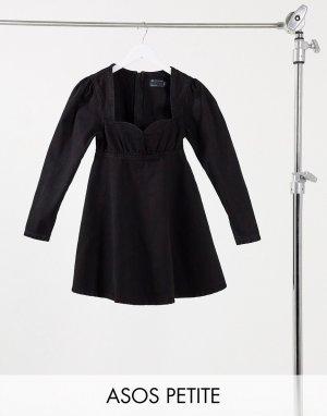 Черное джинсовое платье в стиле бэби-долл ASOS DESIGN Petite-Черный Petite