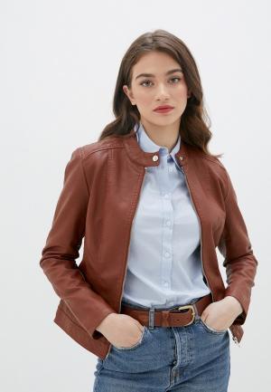 Куртка кожаная Jacqueline de Yong. Цвет: коричневый