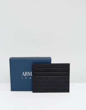Черная кожаная визитница с тисненым логотипом Armani Jeans. Цвет: черный