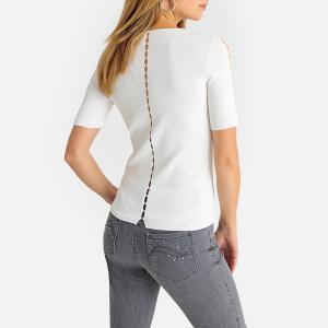 Пуловер с V-образным вырезом из трикотажа ANNE WEYBURN. Цвет: серый,экрю