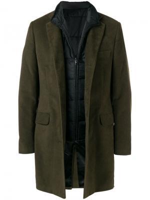 Пальто с жилетом Fay. Цвет: зеленый