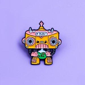 Детская брошь в форме робота SHEIN. Цвет: многоцветный