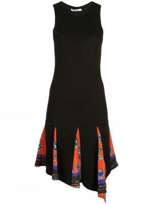 Платье из джерси асимметричного кроя с принтом Derek Lam 10 Crosby. Цвет: черный