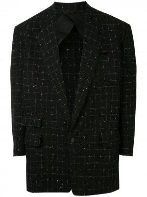 Клетчатый пиджак 1950-х годов Fake Alpha Vintage. Цвет: синий