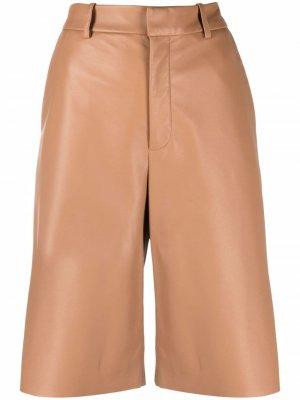 Кожаные шорты-бермуды с завышенной талией Simonetta Ravizza. Цвет: коричневый
