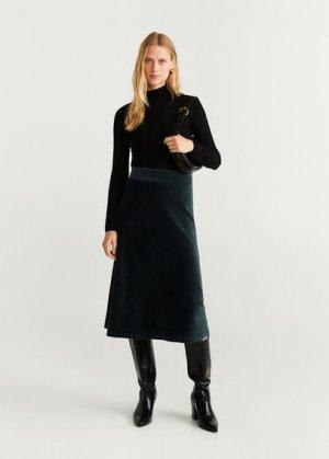 Миди-юбка из вельвета - Farrah Mango. Цвет: зеленый