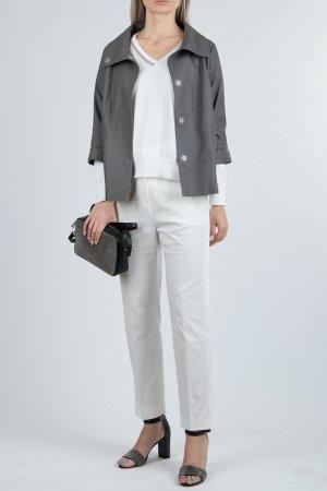 Белый пуловер с серебристой отделкой Fabiana Filippi
