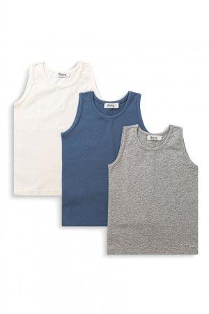 Набор из бежевой, синей и серой маек Bonpoint. Цвет: multicolor